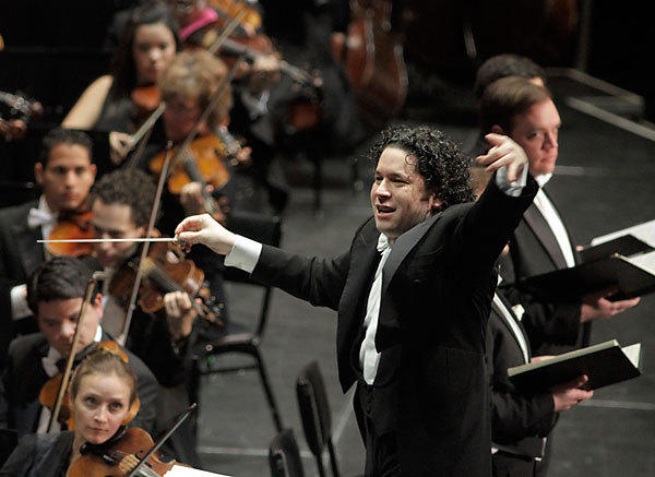 Gustavo Dudamel, conducting members of the Los Angeles Philharmonic.