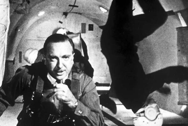 Walter Cronkite in a reduced-gravity environment in 1964.
