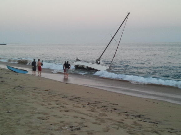 A 28-foot sailboat sinks off Balboa Peninsula on Wednesday evening.
