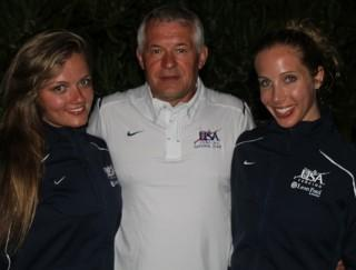 Coach Ed Korfanty and 2012 Olympians Dagmara Wozniak (l) and Mariel Zagunis.