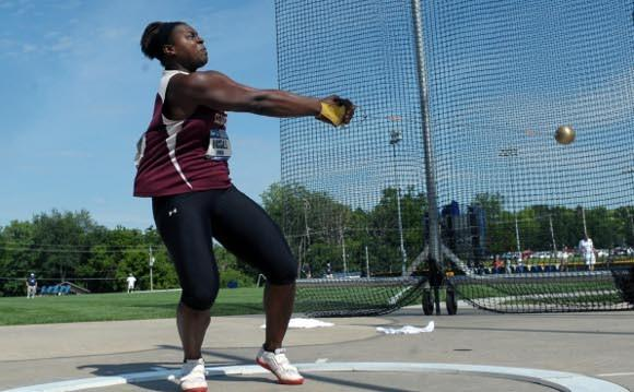 Jeneva McCall winning the hammer at the 2012 NCAA Championships. (Kirby Lee - US Presswire)