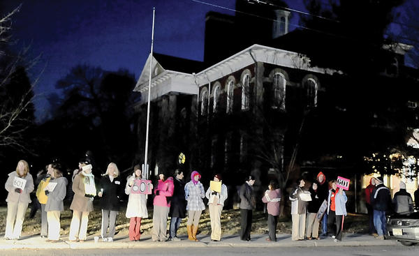 Waynesboro (Pa.) Area School District teachers stand on 3rd Street in Waynesboro during a rally outside the school district building in this February photo.