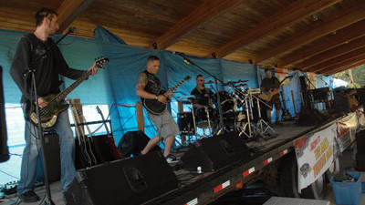 Saves Nine, a band from Meyersdale, takes the stage for a sound check at Greenhouse Park Thursday afternoon. They were scheduled to play that evening to open Thunder in the Valley festivities there.