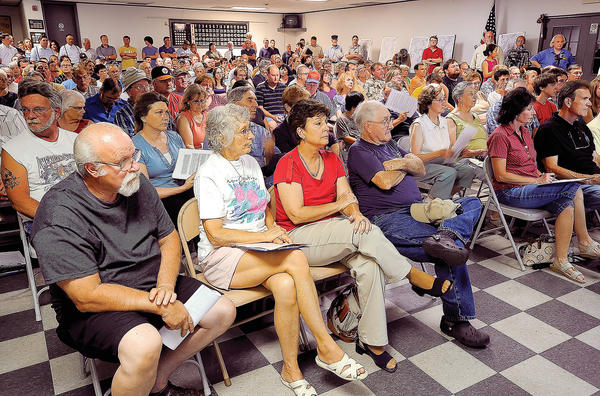 More than 200 people filled Boonsboro's fire hall's  meeting room Thursday night for a hearing on the proposed Civil War Railroad Trail.