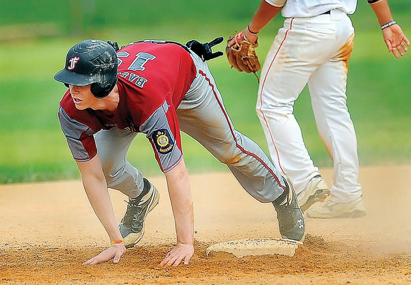 Funkstown's Jake Bachtell safely reaches second base on an error in the bottom of the first inning Thursday.