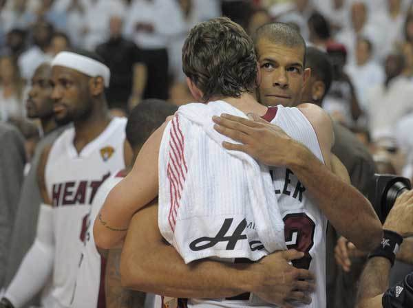 Shane Battier and Mike Miller celebrate winning the NBA Championship at the American Airlines Arena over the Oklahoma City Thunder.