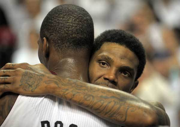 Udonis Haslem and Chris Bosh celebrate winning the NBA Championship at the American Airlines Arena over Oklahoma City.