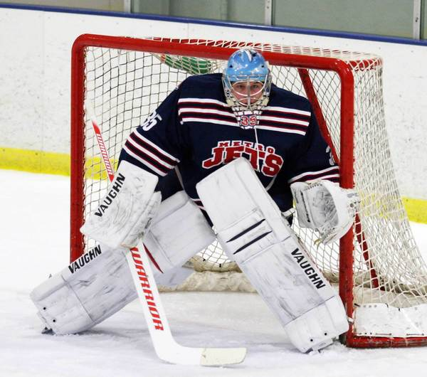 Recent Petoskey High School graduate Dillon Kelley mans the net for the Waterford Metro Jets of the North American 3 Hockey League earlier this season. Kelley has his sights set on joining the Dubuque Fighting Saints of the United States Hockey League.