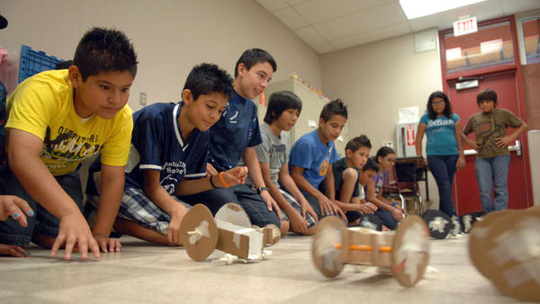 MESA students race their prototype of planet Mars rover models during their NASA Program class at Calexico High School on Thursday.