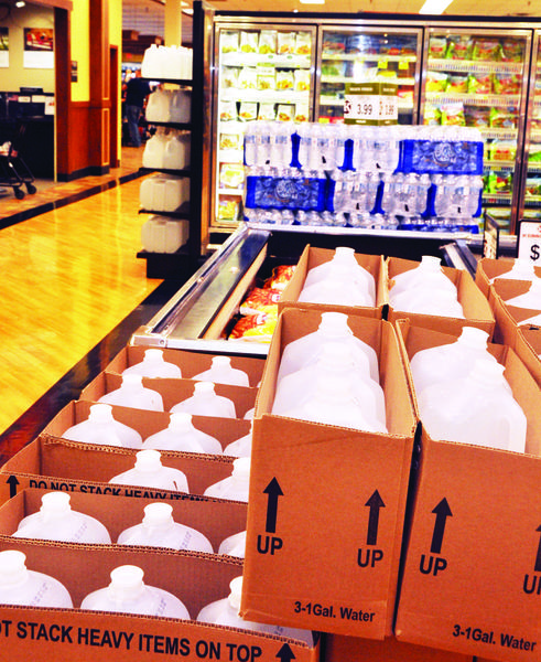 Kessler's stocked pallets of bottled water cases and jugs around the store after E. coli was found in northern Aberdeen.