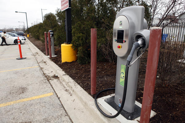 Midway Airport features electric charging stations in its cell phone lot. Naperville recently approved a charging station for a downtown lot.
