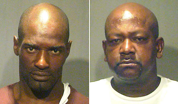 Freddie Hopson, left, and David Chambers have been charged with choking a man in his 80s and stealing money hidden in his shoe.