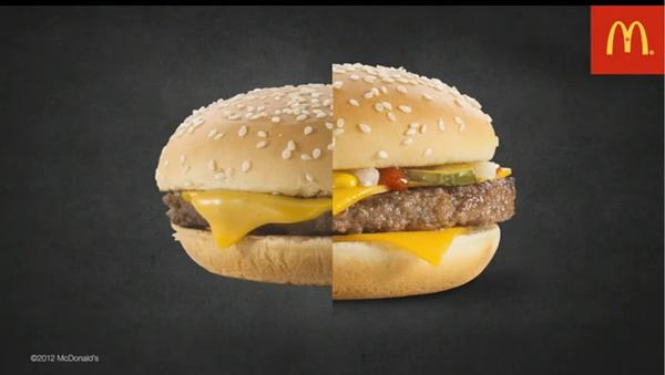 A split-screen comparison of a store-bought McDonald's Quarter Pounder and one constructed from the same ingredients in a photo studio.