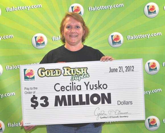 Cecilia Yusko and her Gold Rush Tripler loot.