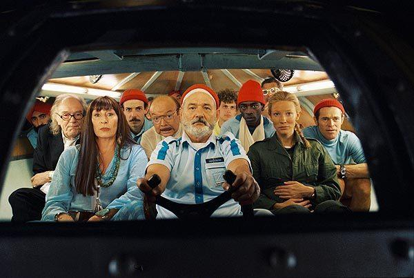 "Waris Ahluwalia, left, Michael Gambon, Anjelica Huston, Noah Taylor, Bud Cort, Bill Murray, Matthew Gubler, Seu Jorge, Jeff Goldblum, Cate Blanchett and Willem Dafoe in ""The Life Aquatic with Steve Zissou."""