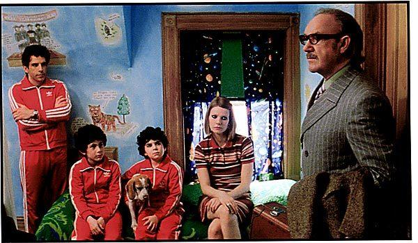 "Chas (Ben Stiller), left, Uzi (Jonah Meyerson), Ari (Grant Rosenmeyer), Margot (Gwyneth Paltrow) and  Royal Tenenbaum (Gene Hackman) in ""The Royal Tenenbaums."""