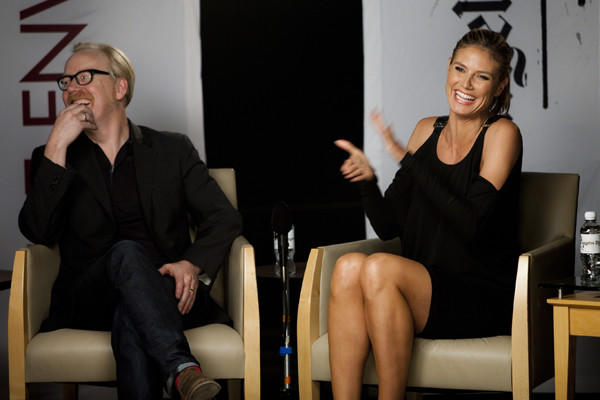 Behind the scenes: Adam Savage and Heidi Klum share a laugh during the Emmys Reality TV Round Table.