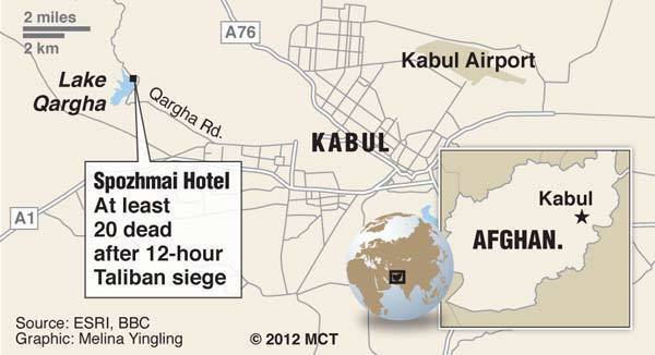 Map of Kabul, Afghanistan, locating where a daylong siege by militants of a lakeside hotel left more than 20 Afghans dead.