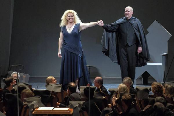 "Mezzo-soprano Michelle DeYoung and bass-baritone Alan Held in ""Bluebeard's Castle."""