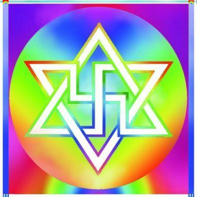 A new rendering of the swastika, which the Raelians call this the Symbol of Infinity.
