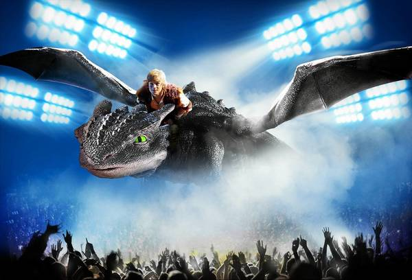Rarmian Newton plays Hiccup as he rides an animatronic Toothless in 'How to Train Your Dragon Live.' The show makes its North American debut June 27 at Mohegan Sun Arena.