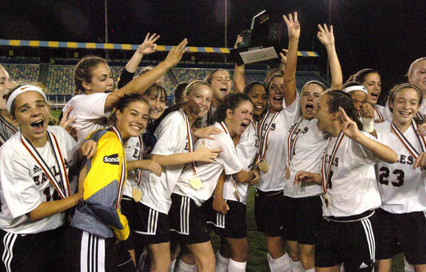 Girls soccer has been incredibly successful in Broward County. In this 2005 photo, Douglas celebrates winning a state title at Lockhart Stadium. The Eagles won five consecutive state championships between 2003 and 2007.