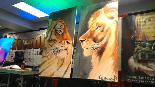 After a night of live painting, the pieces were auctioned off.