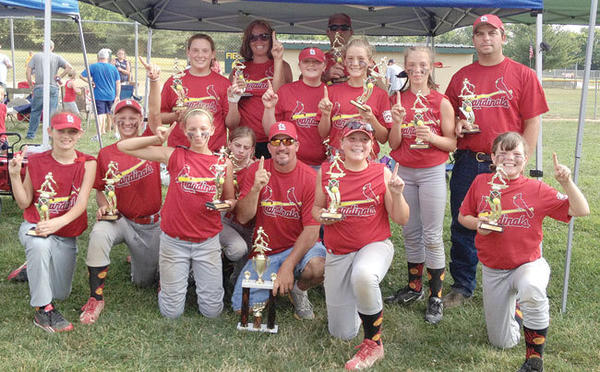 The Winchester Little League 10-12 girls softball champions are the Cardinals ¿ the second year the team has captured the title. Seven of the team members also were part of the previous year¿s championship squad, which went 16-1. This year, the Cardinals had a season record of 14-1. Seven of the 12 team members have been chosen to represent Clark County in the All-Star Tournament to be played July 7-11 at Lykins Park. The All-Star Tournament coincides with the state Little League Softball Tournament, which is being played in Winchester this year. Team members are, front row from left, Mayleigh Vanhoose,¿Emily Golden, Taylor Curtis, Joetta Martin, head coach Allan Curtis, Leah Curtis and Felicia Jones; back row, Whitney Walker, assistant coach Jenn Goldhahn, Hanna Abner, assistant coach Chad Walker, Alyssa Jones, Haley Goldhahn and assistant coach Richard Martin. Not pictured is Lanee Crowe.