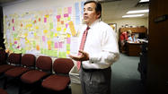 Just a few steps from the office of Washington County Public Schools Superintendent Clayton Wilcox is a conference room with two walls covered with different colored sticky notes and ideas.