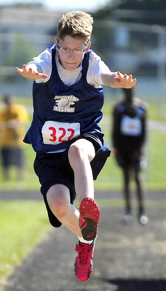 Tim Witmer, 13, of Hagerstown, competes in the youth long jump of the AAU Area 5 Junior Olympic national qualifier at South Hagerstown.