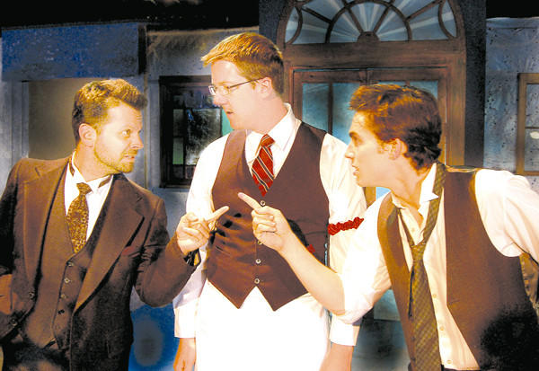 In conversation are, from left, Albert Einstein (Chris Kateff), Freddy the bartender (Michael Kelly) and Pablo Picasso (Mark Ryan Anderson).