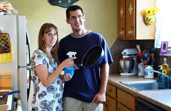 Abby and Wes Weaver, both of Allentown show us how to make your own no-stick cooking spray