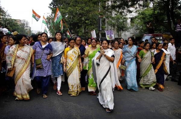 Mamata Banerjee, chief minister of India's West Bengal state, leads a rally in Kolkata in May against a nationwide increase in gasoline prices. Such populist gestures are not uncommon for Banerjee.