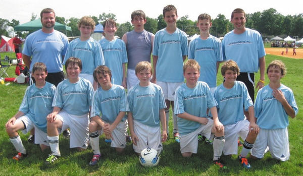 The U-12 boys team from Locomotive FC finished fourth in Division 1 at the Gettysburg Blue Gray Tournament over Memorial Day weekend. There were 14 teams in the age group. Front row, from left, are Evan Ramacciotti, Hayden Lyles, Dalton Myers, Harry Masker, Billy Wood, Matthew Mannick and Dylan Mannick. Back row, from left, are Coach Austin Gray, Seth Mannick, Dylan Baer, Hunter Sowers, Anthony Wingfield, Drew Huffer and Coach Chris Mills. The U14 boys team finished fourth in Division 4 and the U11 girls team finished eighth in Division 3.