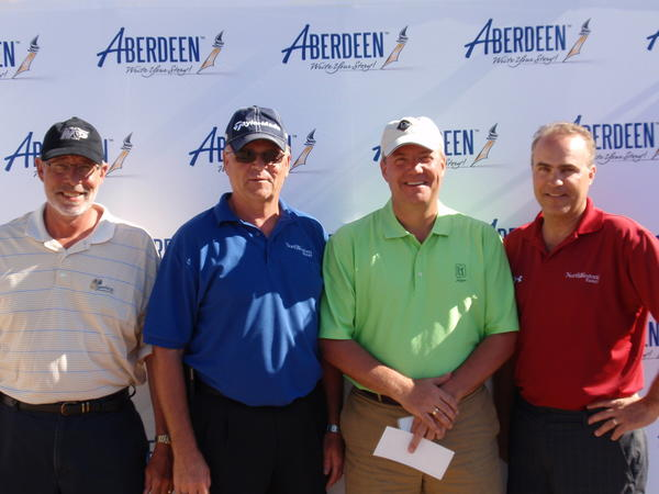 Northwestern Energy took first place in Flight 1 of the 2012 Chamber Golf Tournament on June 4 at Moccasin Creek Country Club. Team members were, from left: Jay Morris, Jerry Bertsch, Mike Cameron and Mike Williams.