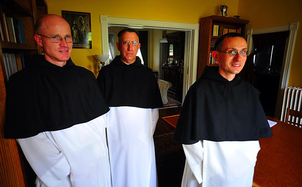 Canons Regular of the New Jerusalem order, from left, are Frater John Berchmans, the Very Rev. Dom Daniel Augustine Oppenheimer CRNJ, and Frater Alban.