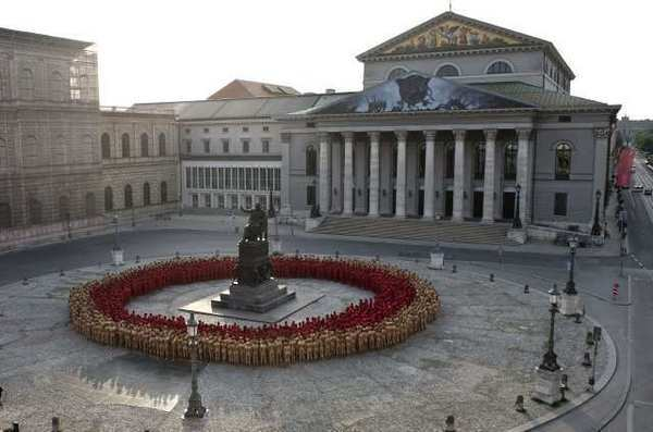 "Several hundred nude people assembled in downtown Munich over the weekend for American artist Spencer Tunick's installation dedicated to the ""Ring"" cycle by Richard Wagner."