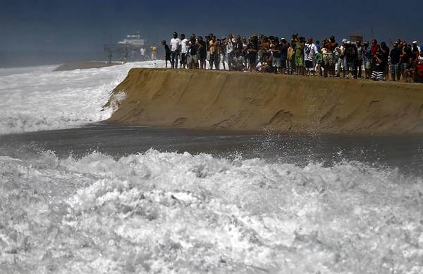 The destructive power of rising sea levels will be felt first when storms hit vulnerable places such as Newport Beach, said Gary Griggs, director of the Institute of Marine Sciences at UC Santa Cruz. Above, the Wedge at Newport Beach.
