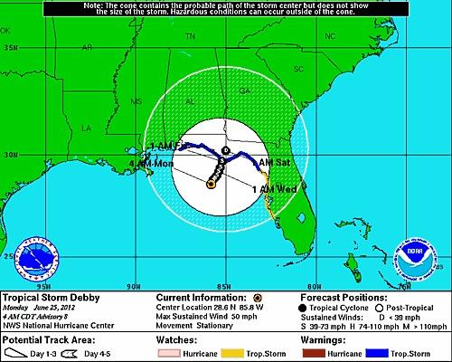 Tropical Storm Debby was stationary on Monday morning.