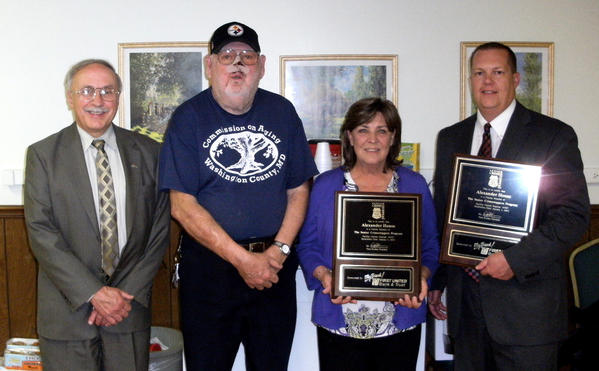 "The Senior Housing Crime Prevention Foundation Inc. and First United Bank & Trust held a charter presentation at the Alexander House on May 8 in Hagerstown. From left are Richard ""Dick"" Kid, commercial lending officer for First United Bank & Trust; Charles Dunnigan, Alexander House resident; Danette Jones, Alexander House administrator; and Charles ""Chuck"" Eichelberger, community office manager at the Hagerstown office of First United Bank & Trust."