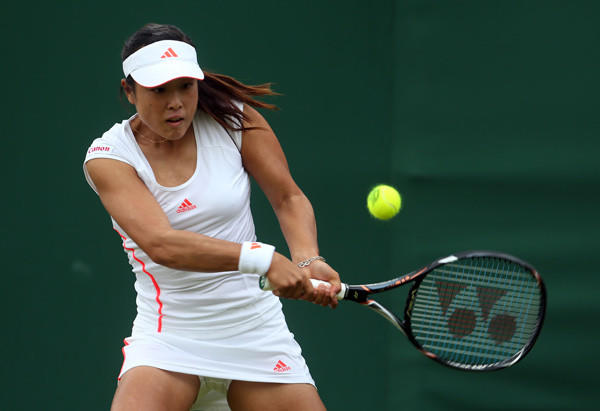 Ayumi Morita of Japan on day one of Wimbledon.