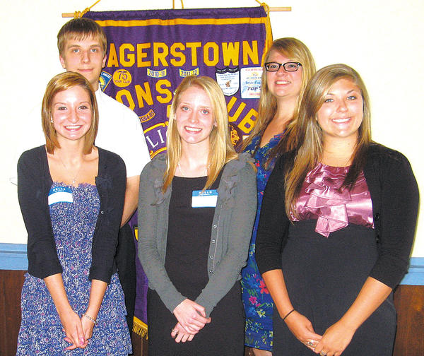 Hagerstown Lions Club scholarship recipients are, from left, Sally Ann Johnston, Mark Sokol, Madison Vida, Autumn Tracy and Kelsey Jarvis. Not pictured: Kevin Sokol and Matthew Culver.