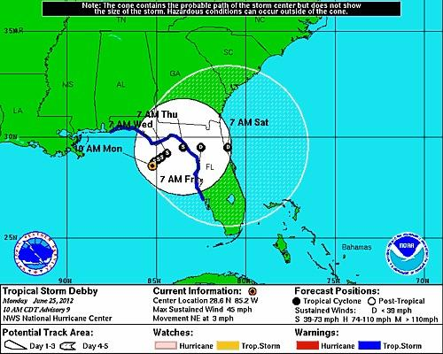Tropical Storm Debby is projected to weaken over the next five days.