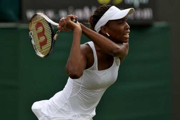 Venus Williams loses in the first round at Wimbledon on Monday.