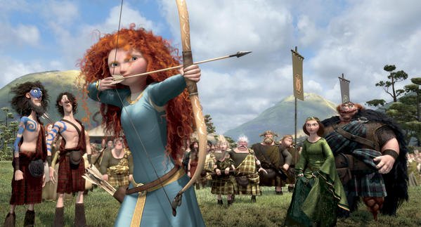 "This film image released by Disney/Pixar shows the character Merida, voiced by Kelly Macdonald, in a scene from ""Brave."""