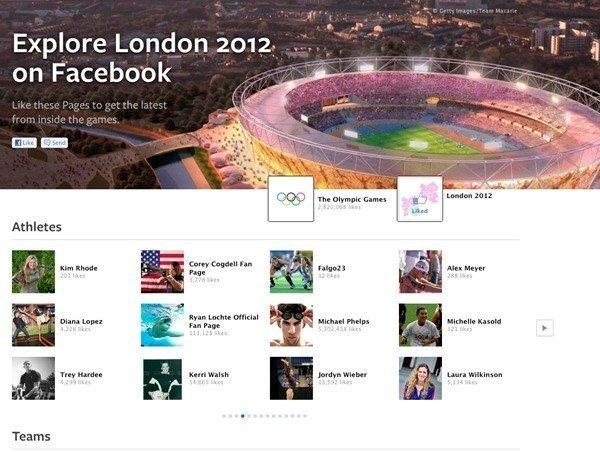 Facebook has launched an Explore London 2012 page to connect fans with athletes.