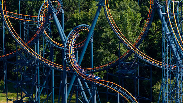 "The looping Vortex at Ohio's Kings Island competes in the Wrong Way Up category on the Travel Channel's ""Insane Coaster Wars."""