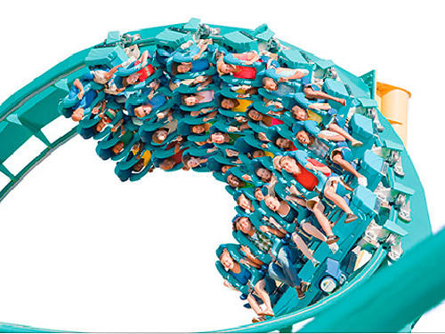 "The floorless Kraken at SeaWorld Orlando competes in the Wrong Way Up category on the Travel Channel's ""Insane Coaster Wars."""