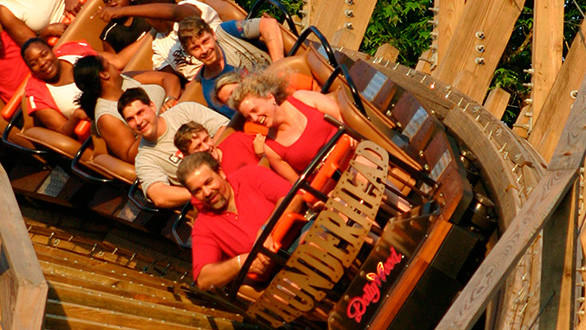 "The twister-style Thunderhead at Tennessee's Dollywood competes in the Splintering Speedsters category on the Travel Channel's ""Insane Coaster Wars."""