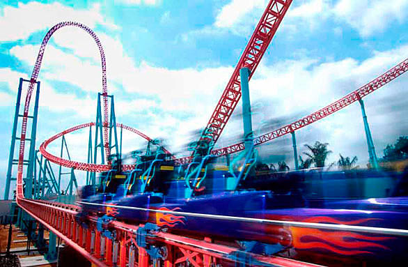 "The 82 mph Xcelerator at Knott's Berry Farm in California competes in the Speed category on the Travel Channel's ""Insane Coaster Wars."""